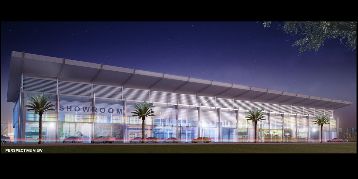 Showroom building with cars & bright lights