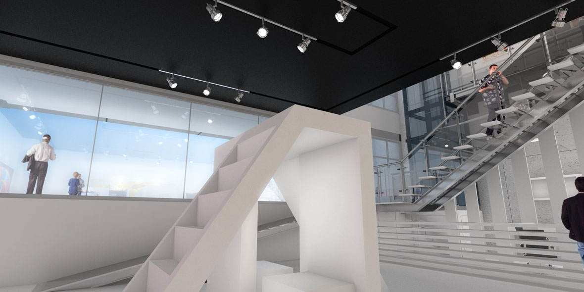 Art museum staircase sculpture