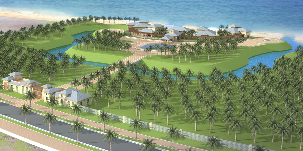 Sketch of buildings on buildings on green grass land right in front of the ocean
