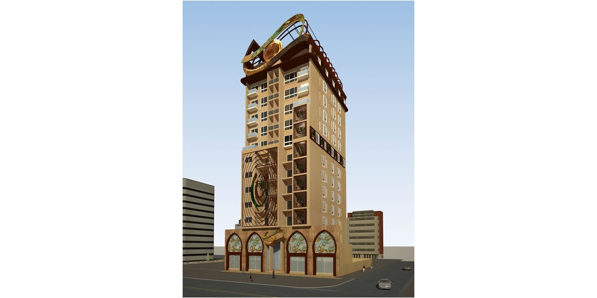 Front view sketch of a tall brown building