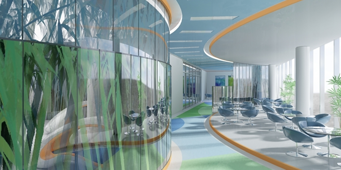 Inside of health club sit down area and hallway photo sketch