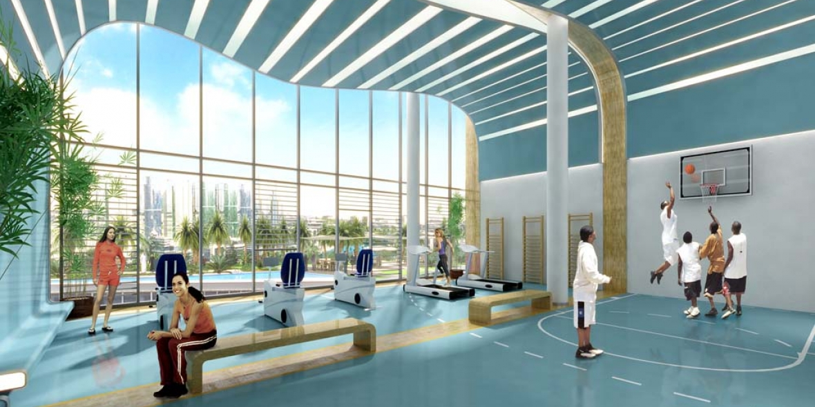 Sketch of a fitness center in a warm area with a pool in the background