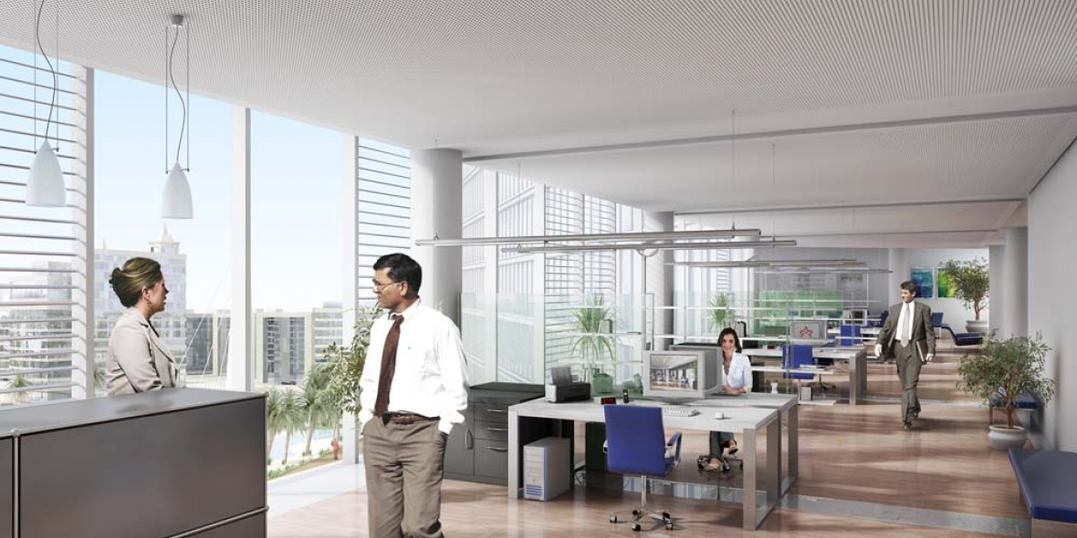 Photo sketch of interior office with people talking