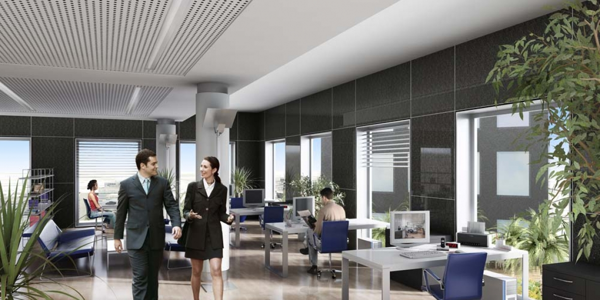 Picture of Woman & Man Talking While Walking Out Of Office